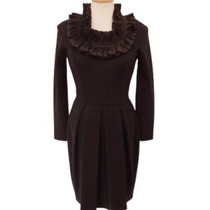 Adrienne Vittadini Vintage Ruffle Neck Wool Dress